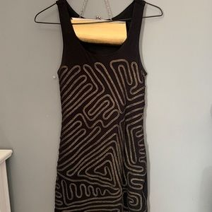 Black with gold dress with matching bag included
